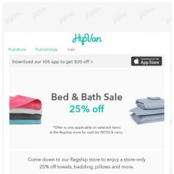 [HipVan] Cathay Special - 25% off Bed & Bath