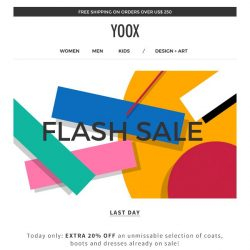 [Yoox] Last day: EXTRA 20% off your favorite sale categories