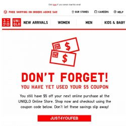 [UNIQLO Singapore] Your $5 Coupon code is expiring soon!