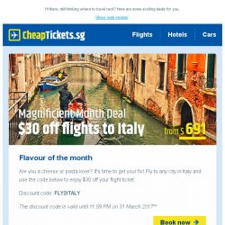 [cheaptickets.sg] Flavour of the Month: All cities in Italy within your reach from just $691