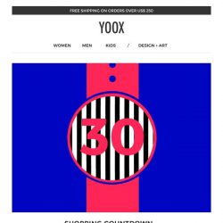 [Yoox] Start the countdown: EXTRA 30% off today only