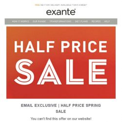 [Exante Diet] Email Exclusive: Half Price Spring Sale - Save 50% off our meal replacement range!