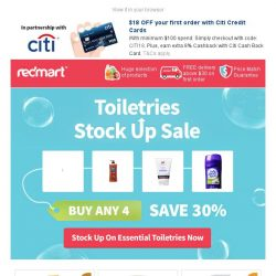 [Redmart] Toiletries Stock Up Sale: 30% savings on your favourite Health & Beauty essentials