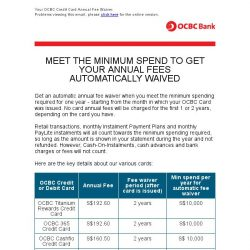 [OCBC] OCBC Cards – What you need to know about your Credit Card Automatic Annual Fee Waiver