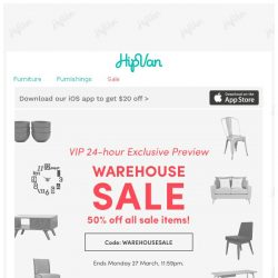 [HipVan] GOING… GOING… at 50% off!