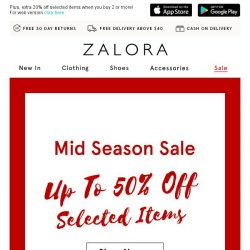 [Zalora] Mid Season Sale is here: Up to 50% off!