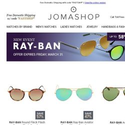 [Jomashop] JUST IN: Longines • Ray-Ban • Fossil • Bvlgari • Ladies Fashion Clearance