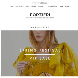 [Forzieri] Ends tomorrow | Spring Festival Exclusive Sale