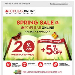 [Popular] Don't Miss Out! 20% Off Storewide Now Till 2 April.