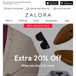[Zalora] ✌️ Take two, action: Extra 20% off when you buy 2 or more!