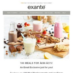 [Exante Diet] 100 meals for only £75 [Email Exclusive]