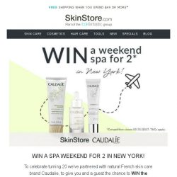 [SkinStore] WIN a spa weekend for two with Caudalie! + what's new on SkinStore?