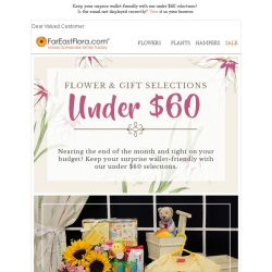 [FarEastFlora] Keep your surprise wallet-friendly with our Under $60 selections!