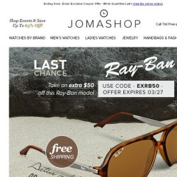 [Jomashop] FINAL HOURS: Extra $50 off Ray-Ban Active Polarized Sunglasses