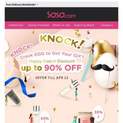 [SaSa ] 【Happy Easter】Crack Egg to Get Gift & Enjoy Discount up to 90% OFF!
