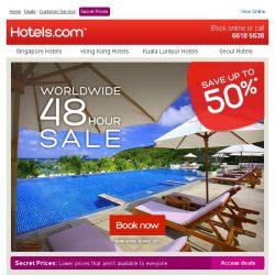 [Hotels.com] 2 Day Sale. Save up to 50%!