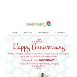 [Floweradvisor] Making your anniversary as memorable as the day you met!