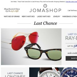 [Jomashop] LAST CHANCE: Bvlgari • Longines • Fossil • Ray-Ban • Ladies Fashion Clearance