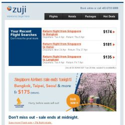 [Zuji] Singapore Airlines flash sale ends tonight!