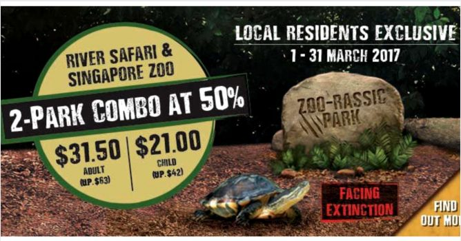 Enjoy 50% off admission tickets when you visit both River Safari and Singapore  Zoo. Valid for same-day admission from 1 to 31 Mar 2017.