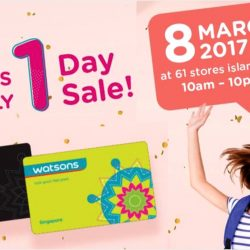 Watsons: Members' Only 1 Day Sale for Members with Hot Buys to Up to 50% OFF & 6% Cash Rebate with POSB Everyday Card!