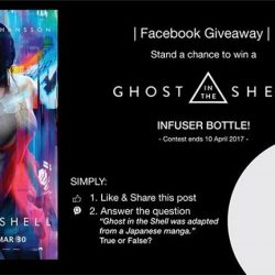 [Filmgarde Cineplex] Stand a chance to win GHOST IN THE SHELL infuser bottle!