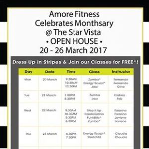 [Amore Fitness] Join us for our Monthsary celebrations over at The Star Vista from 20-26 March!