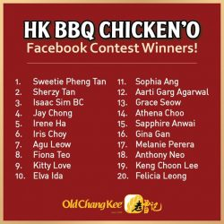 [Old Chang Kee Singapore] Congratulations to all the HK BBQ Chicken'O Facebook Contest Winners!