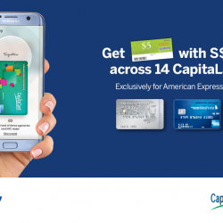 [American Express] Get S$5 CapitaVoucher with every S$10 spent on American Express with Samsung Pay across 14 CapitaLand Malls.