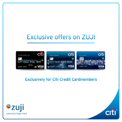 [Citibank ATM] Enjoy great savings when you book your hotels, flights and packages on ZUJI with Citi Credit Cards.
