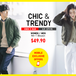 [Uniqlo Singapore] Look chic and trendy in MA-1 Blousons, now on limited offer exclusively for UNIQLO Mobile App users.