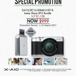 [FUJIFILM] Sharing our bundle promotion for X-A10/XC16-50mm II Kit and Instax Share SP-2 Printer  at $999 only-