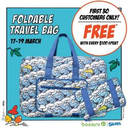 [Bossini Singapore] Get a Smurfs Foldable Travel Bag for FREE with $100 spent from today onwards!
