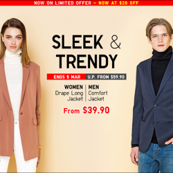 [Uniqlo Singapore] Transit smoothly from the office to dinner and drinks with the Women's Drape Long Jacket and Men's Comfort