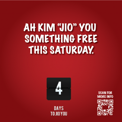 "[Gelare Café] Ah Kim ""Jio"" you something free at Geláre this Saturday!"