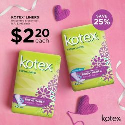 [Watsons Singapore] SAVE 25% on all Kotex® Fresh Liners for a limited time only!