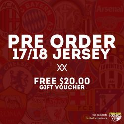 [Premier Football Singapore] Pre-order 17/18 jerseys and receive a $20.