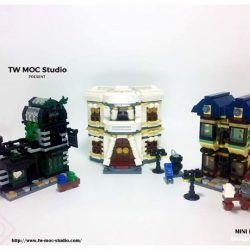 [My Little Brick Shop] Pre-order for Mini Modular Diagon AlleySet of 3 buildings - Ollivander's, Borgin and Burke's and Gringott's