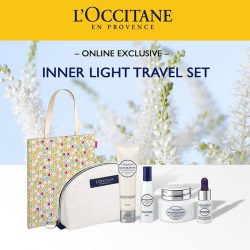 [L'Occitane] Travel light & still look fab with our Reine Blanche Inner Light Travel Set!