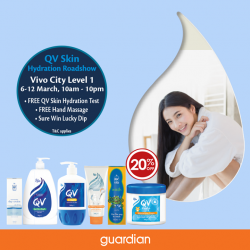 [Guardian] Win attractive prizes and get a chance to redeem a free hand massage at QV Skin Hydration Roadshow!