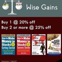 [MPH] Investment Books Promotion - Wise GainsBuy 1 @ 20% off Buy 2 or more @ 25% off Promotion valid from 1 - 31