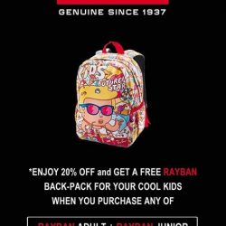 [Eyechamp Flagship] Enjoy 20% off and get a FREE Rayban back-pack for your cool kids when you purchase any of Rayban