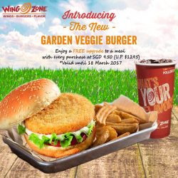 [Wing Zone Singapore] Get a FREE upgrade to a meal (wedges + drink) when you order our NEW, DELICIOUS & HEALTHY Garden Veggie Burger!