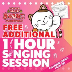 [Manekineko Karaoke Singapore] Present any CATHAY Original Movie Stub and check in for any singing session to receive a FREE additional 1 Hour