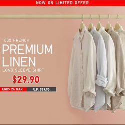 [Uniqlo Singapore] Lightweight and breathable, the classic cut Premium Linen Shirt is a summer favourite made from 100% natural French Linen.
