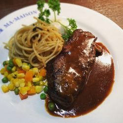[Ma Maison Restaurant Singapore] Today's Daily Lunch at Ma Maison at Bugis Junction, Takashimaya and Anchorpoint is Stripeloin Steak with Brown sauceSoup,