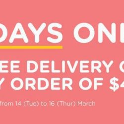 [Watsons Singapore] NEWS FLASH: FREE DELIVERY IS BACK FOR 3 DAYS ONLY!