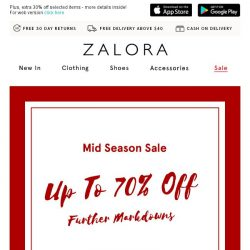 [Zalora] 🔥 It gets hotter:  Up To 70% Off Mid Season Sale!