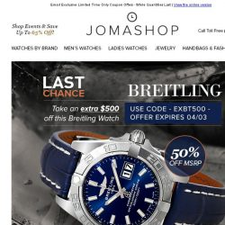 [Jomashop] FINAL HOURS: Breitling $500 Coupon • Corum Admiral's Cup $2000 Coupon