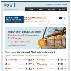 [Zuji] Tokyo on sale fr $394 on full service airlines!